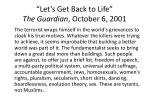 let s get back to life the guardian october 6 20011