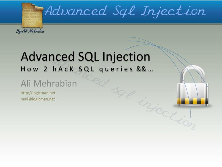 advanced sql injection how 2 hack sql queries n.