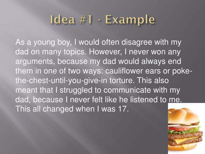 Idea #1 - Example