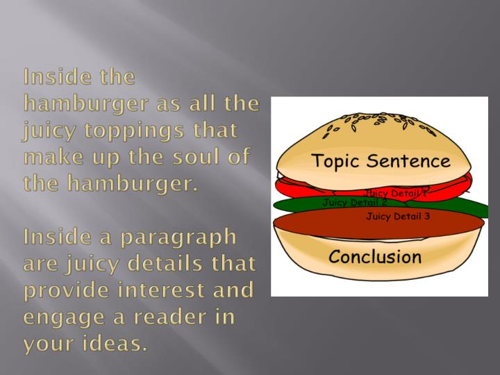 Inside the hamburger as all the juicy toppings that make up the soul of the