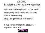 m l 2012 etablering av statlig verksamhet
