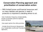 conservation planning approach and prioritization of conservation action
