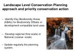 landscape level conservation planning approach and priority conservation action