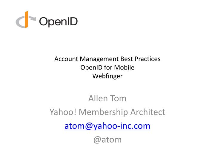 account management best practices openid for mobile webfinger n.