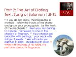 part 2 the art of dating text song of solomon 1 8 12