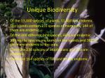 unique biodiversity
