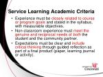 service learning academic criteria