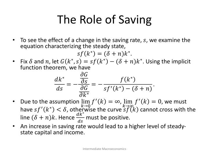 The Role of Saving