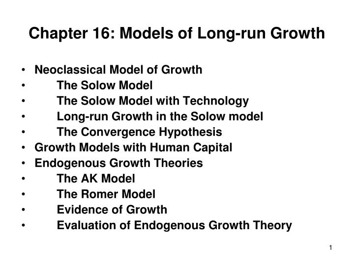 chapter 16 models of long run growth n.
