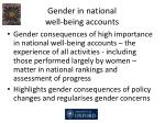 gender in national well being accounts