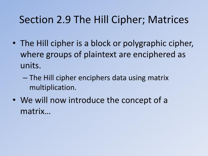 section 2 9 the hill cipher matrices n.