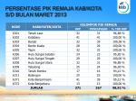 persentase pik remaja kab kota s d bulan maret 2013