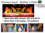 previous event mother n child
