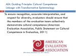 aea guiding principle cultural competence linkage with transformative epistemology