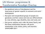 un women programmes transformative paradigm overlap