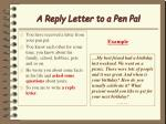 a reply letter to a pen pal