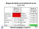 risque de d c s sur la dur e de la vie oms 2000