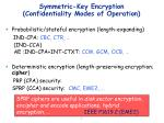 symmetric key encryption confidentiality modes of operation