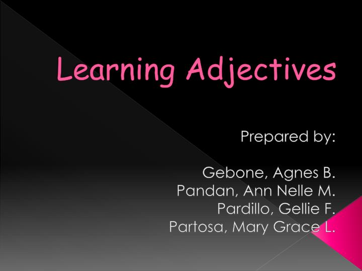 learning adjectives n.