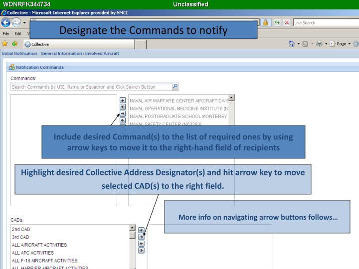 Designate the Commands to notify