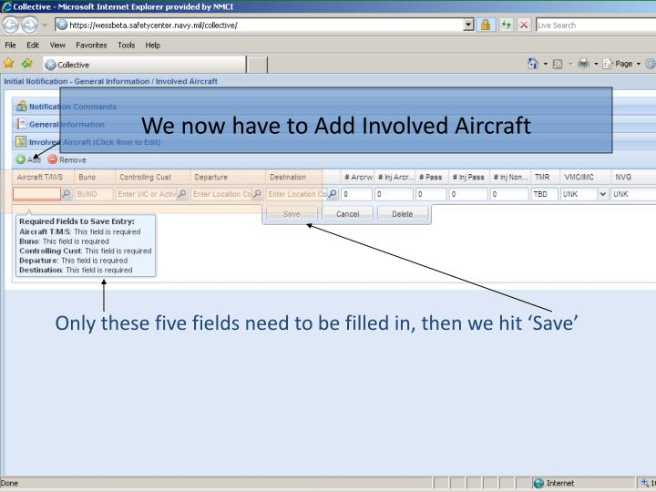 We now have to Add Involved Aircraft