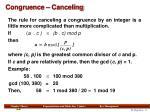 congruence canceling