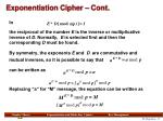 exponentiation cipher cont