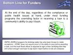 bottom line for funders