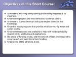 objectives of this short course