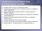 small community projects that are often easier to fund
