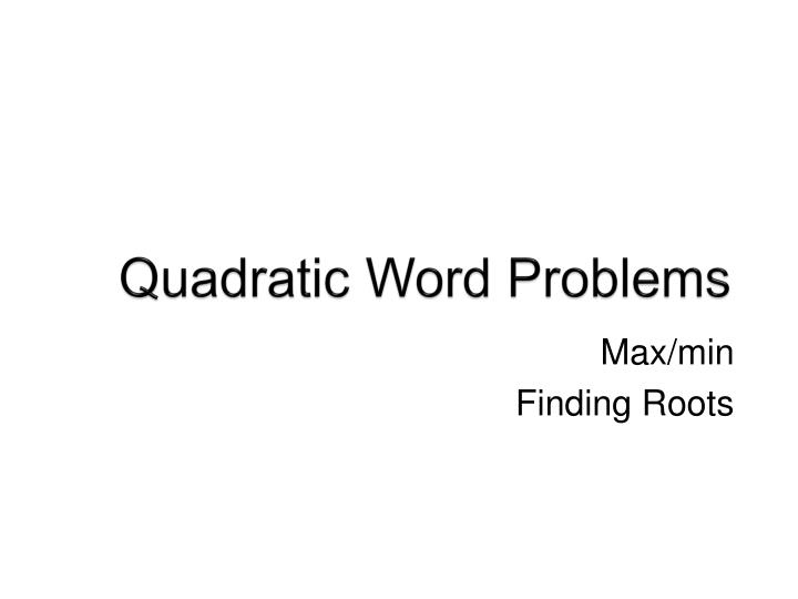 quadratic word problems n.
