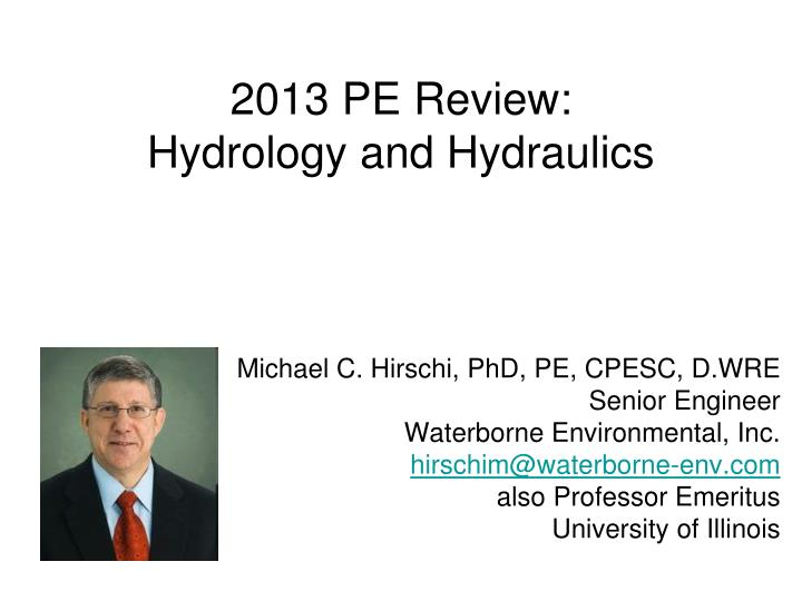 2013 pe review hydrology and hydraulics n.