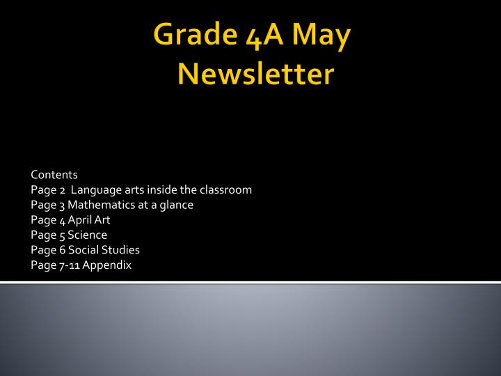grade 4a may newsletter n.