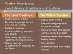 native americans two literary traditions 1 culture