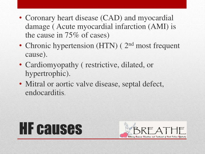 Coronary heart disease (CAD) and myocardial damage ( Acute myocardial infarction (AMI) is the cause in 75% of cases)