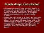 sample design and selection