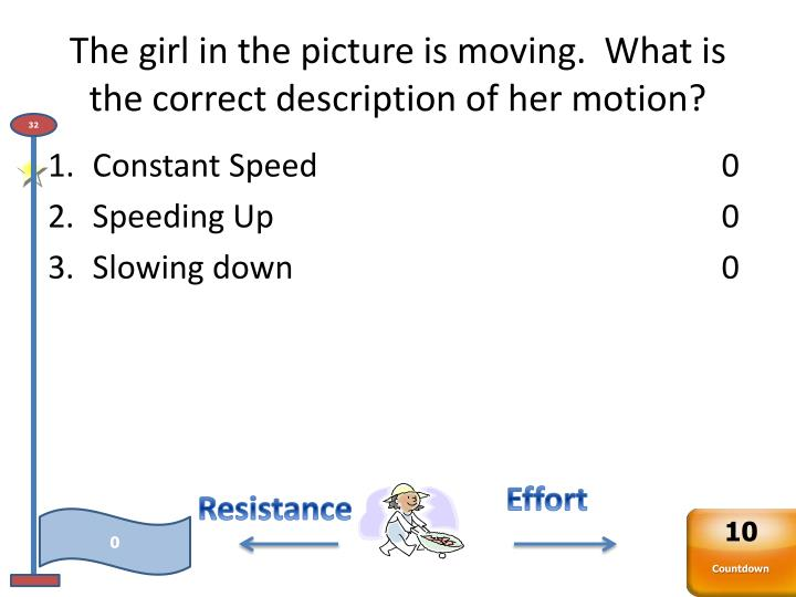 The girl in the picture is moving.  What is the correct description of her motion?