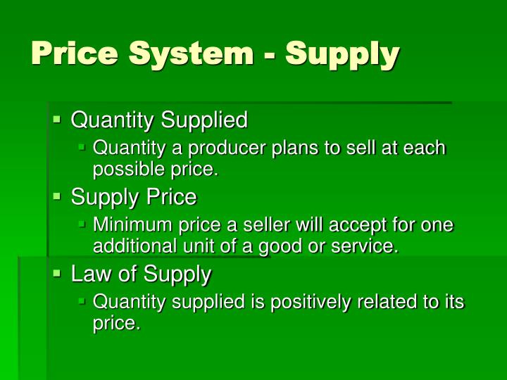 Price System - Supply