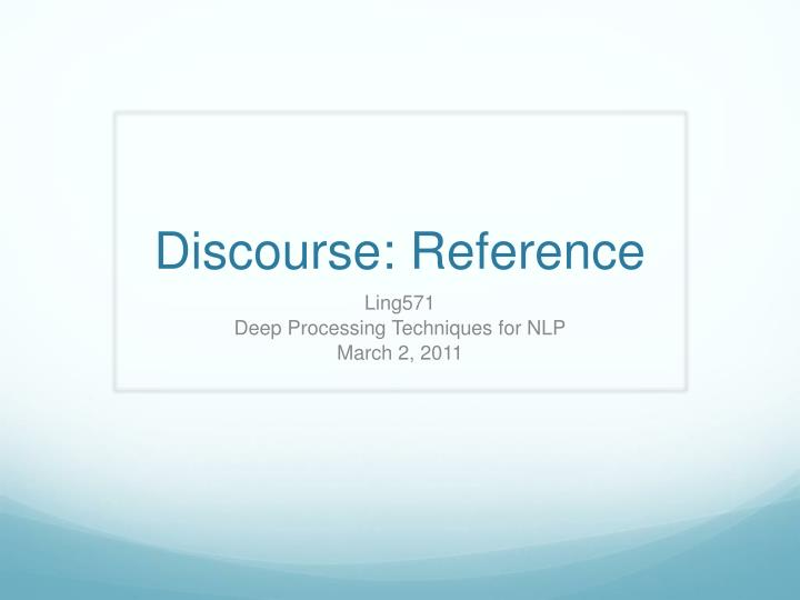 discourse reference n.