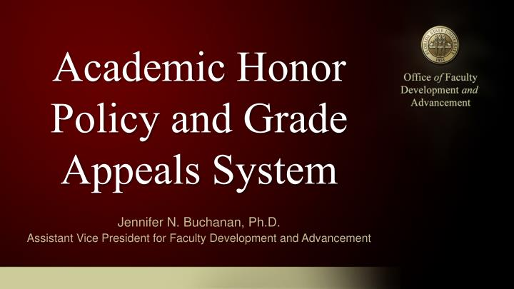 academic honor policy and grade appeals system n.