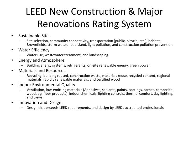 leed new construction major renovations rating system n.