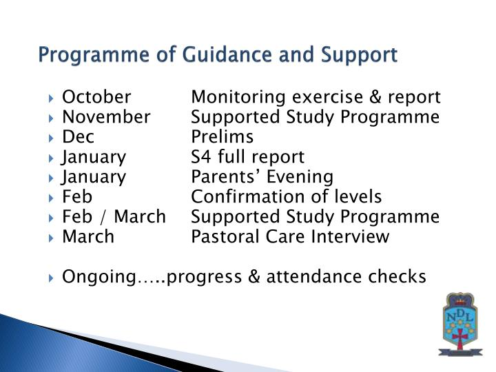 Programme of Guidance and Support