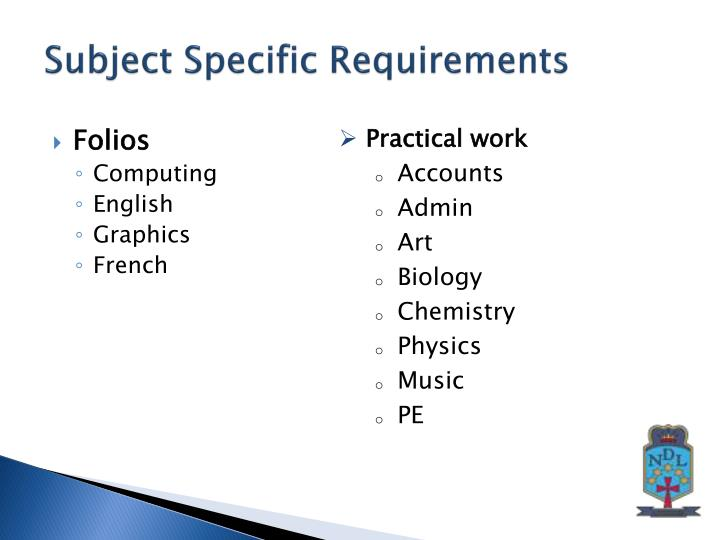 Subject Specific Requirements