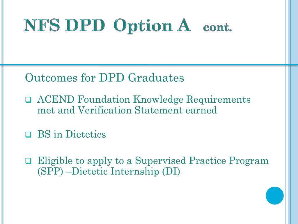 PPT - UK NFS Dietetics Program Didactic Program in Dietetics