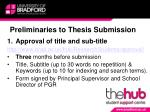preliminaries to thesis submission