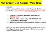 nsf grant tues award may 2012