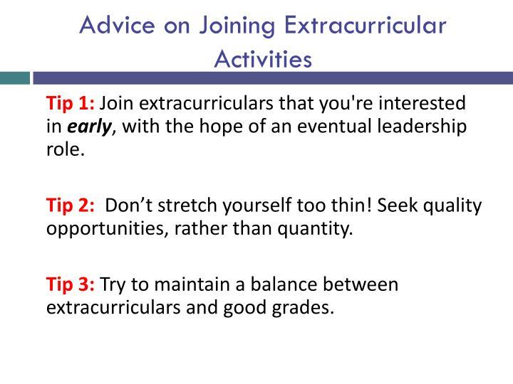 Advice on Joining Extracurricular Activities
