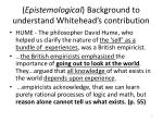 epistemological background to understand whitehead s contribution