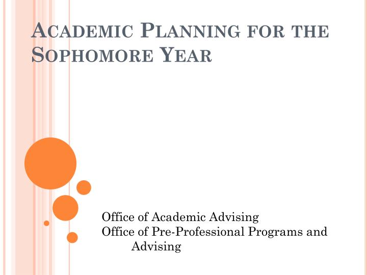 academic planning for the sophomore year n.