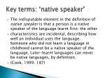 key terms native speaker